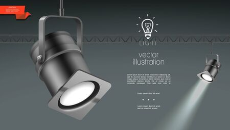 Realistic spotlights for stage lighting template with hanging shining projectors on gray background vector illustration
