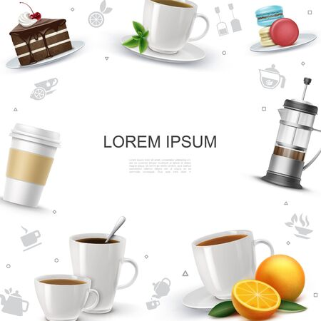 Realistic tea time template with cake piece macaroons french press orange mint leaf tea and coffee cups vector illustration Vettoriali