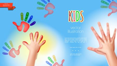 Realistic mother and babies hands template with colorful child hand prints on light blue background vector illustration
