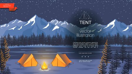 Flat night camping background with bonfire near tourist tents on river forest and mountains landscape vector illustration Vettoriali
