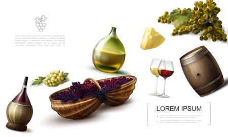 Realistic grape colorful template with bottles and glasses of wine cheese wooden barrel bunches of white and red grapes vector illustration Vettoriali