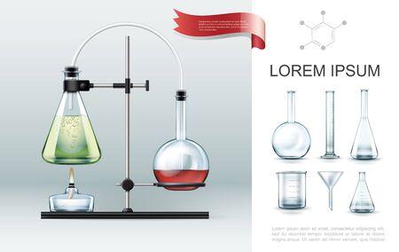 Concepto de elementos de experimento de laboratorio realista con tubos de ensayo, quemador de alcohol, vaso de precipitados, embudo y matraces de diferentes formas, ilustración vectorial
