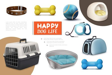 Realistic dog items composition with travel carrier leash puppy beds bones collar ball vector illustration
