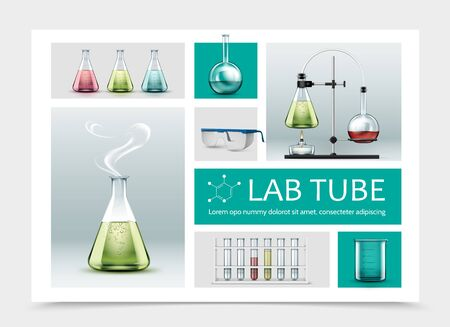 Realistic laboratory equipment composition with full tubes beaker protective glasses and chemical reaction test using flasks and alcohol burner vector illustration