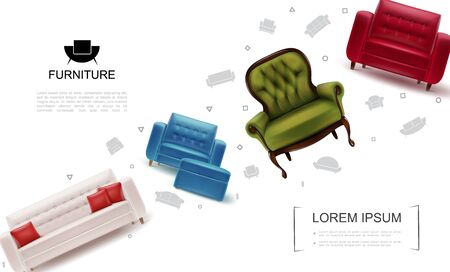 Realistic home furniture objects template with armchairs soft tabourets leather sofa with pillows vector illustration