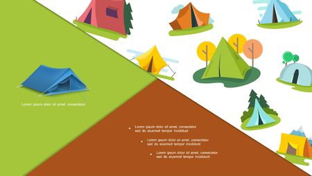 Colorful tourist tents composition with different trees in flat style on white background vector illustration