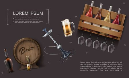 Realistic bar elements template with barrel and mug of beers wine bottles in wooden box glasses hookah vector illustration
