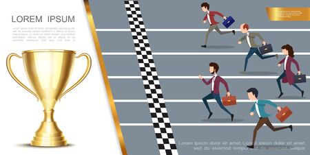 Leadership and success colorful concept with business people running marathon and realistic shiny gold cup vector illustration Vettoriali