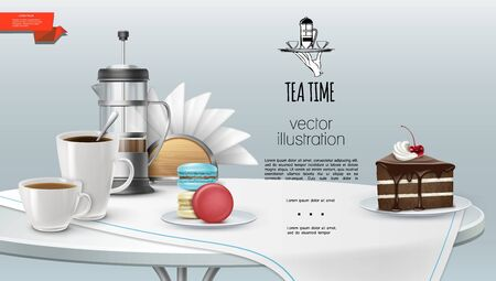 Realistic tea time background with cups of coffee and tea french press cake piece macaroons napkins tablecloth on table vector illustration 矢量图像