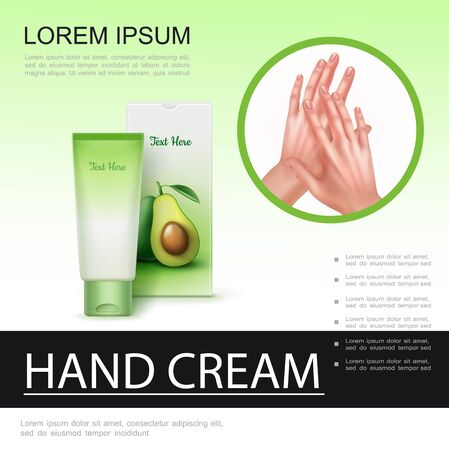 Realistic skin care poster with cream cosmetic tube mockup and beautiful healthy female hands vector illustration