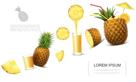 Realistic fresh pineapple template with tropical fruit pieces glasses of natural juice pineapple cocktail garnished with umbrella and orange slice vector illustration