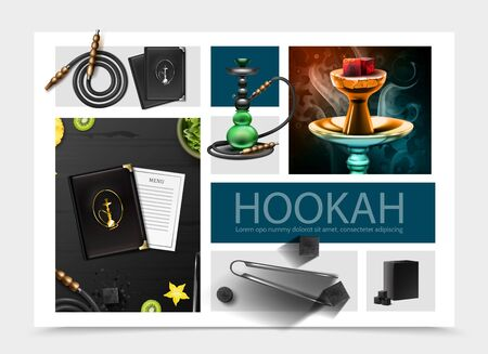 Realistic hookah bar composition with menu cover and card shisha hose tobacco tongs coal cubes fruits slices vector illustration Vettoriali