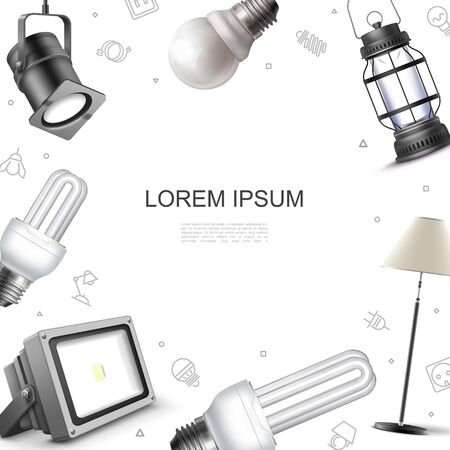 Realistic lighting elements template with spotlights floor lamp lightbulbs and lantern vector illustration Vettoriali