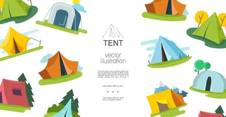 Flat camping elements template with colorful tents of different shapes trees clouds vector illustration