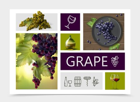 Realistic grapes composition with white red purple grapes bottle and glasses of wine and winemaking linear icons vector illustration