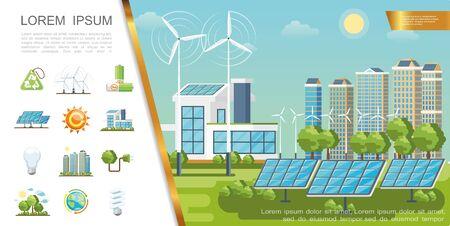 Flat eco city concept with solar panels wind turbines modern buildings recycling sign lightbulbs green trees batteries globe sun plug vector illustration