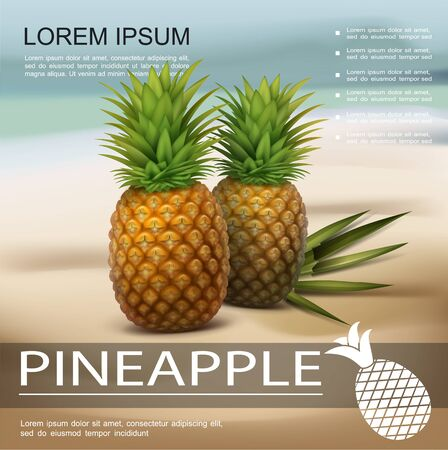 Realistic fresh pineapples colorful poster with two tropical fruits and palm leaves on beach on blurred background vector illustration