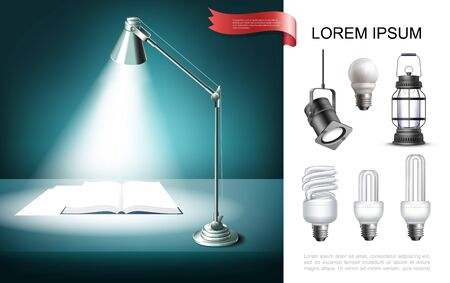 Lighting equipment concept with table lamp shining on book lantern lightbulbs spotlight in realistic style vector illustration Vettoriali