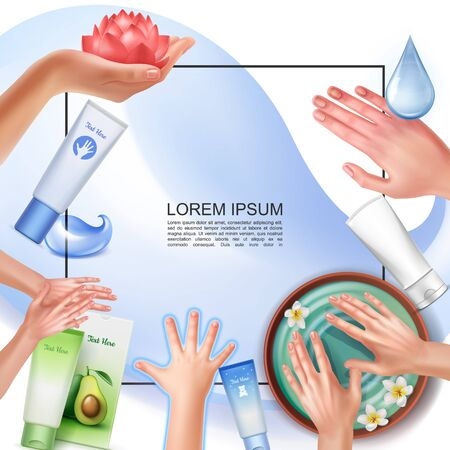 Realistic skincare template with frame for text different hand care procedures cosmetic tubes and packages of cream vector illustration Vettoriali