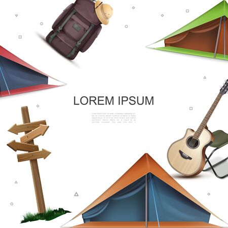 Realistic camping colorful template with wooden signboard acoustic guitar chair tents backpack pith hat vector illustration