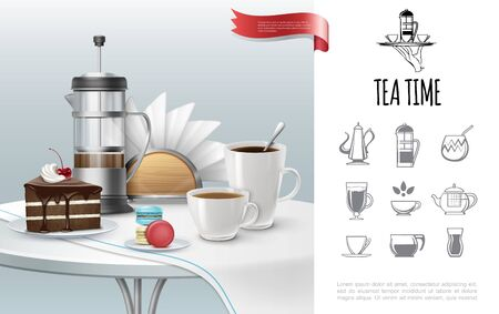 Tea time concept with realistic cake cups full of hot drinks french press macaroons napkins tablecloth on table and tea party icons vector illustration