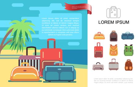 Flat summer travel colorful concept with baggage different bags backpacks on tropical beach vector illustration Vettoriali