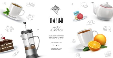 Realistic tea time background with oranges macaroons chocolate cake piece french press teapot cups of hot herbal and fruit tea vector illustration Vettoriali