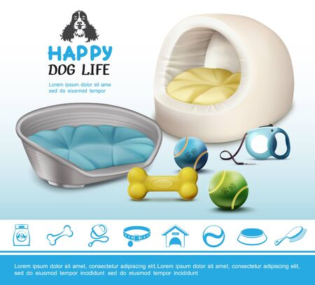 Realistic dog items concept with bone balls leash soft beds and pet blue icons vector illustration Illustration