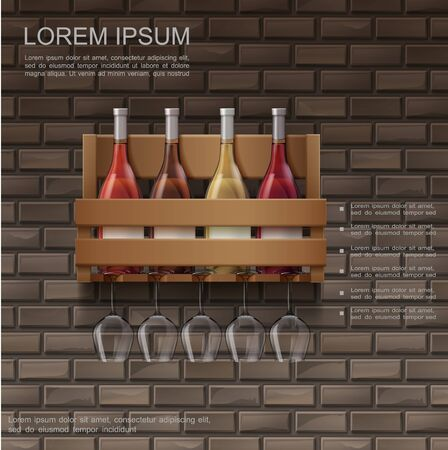 Realistic wine poster with full bottles in wooden box and wineglasses on brick wall background vector illustration