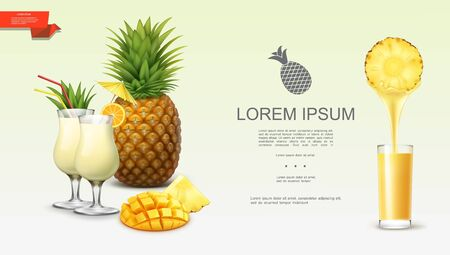 Realistic fresh tasty pineapple background with tropical fruit slices pina colada cocktails and glass of natural juice vector illustration