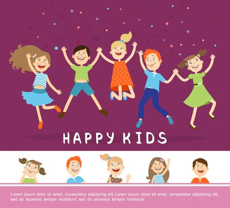 Joyful happy cute children concept with funny cheerful jumping kids in flat style vector illustration