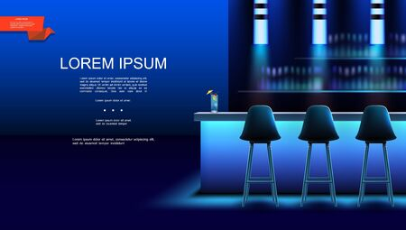Realistic night bar interior background with chairs cocktail on counter and bottles of alcoholic drinks on shelves vector illustration