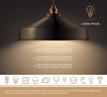 Realistic shining lamp template with text and lighting equipment linear icons vector illustration