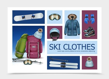 Realistic ski clothes and equipment composition with skis poles goggles backpacks cap helmet jacket sneakers gloves vector illustration