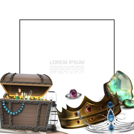 Realistic pirate treasures concept with frame for text crown diadem ring lantern chest full of gold coins and jewels vector illustration