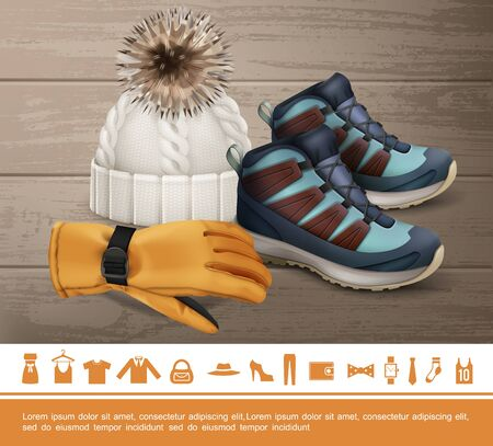 Realistic winter clothes concept with glove knitted hat sneakers shoe watches tie sock shirt bag jacket dress trousers wallet bow icons vector illustration Vettoriali