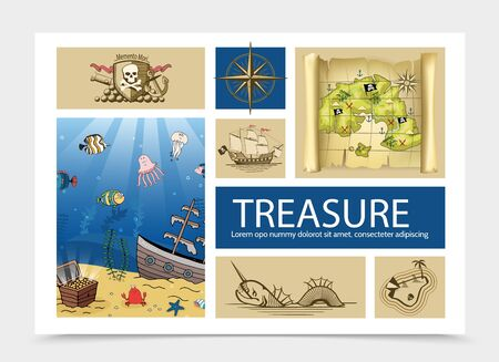 Hand drawn treasure composition with skull and crossbones sign old compass ship pirate map sea monster island chest on sea bottom vector illustration