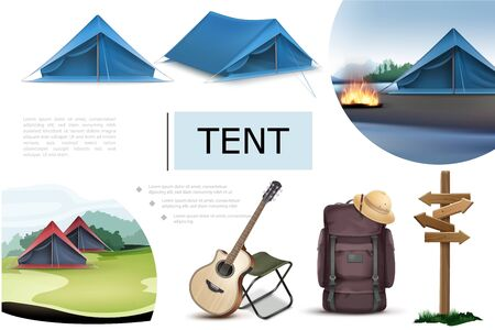Realistic camping elements composition with blue tents bonfire guitar chair backpack wooden signboard cork hat vector illustration