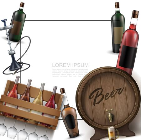 Realistic bar elements template with frame for text wine bottles glasses hookah wooden cask of beer vector illustration Vettoriali