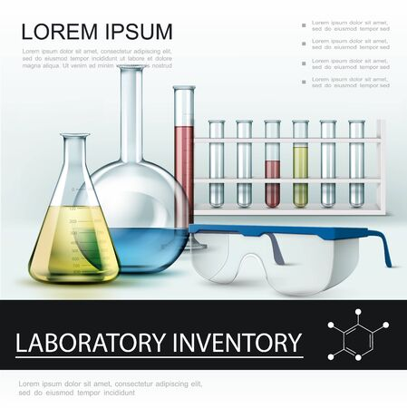 Realistic laboratory inventory poster with test tubes flasks and protective glasses vector illustration