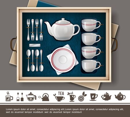 Realistic tea gift set concept with porcelain cups plate teapot silver cutlery and tea time flat icons vector illustration