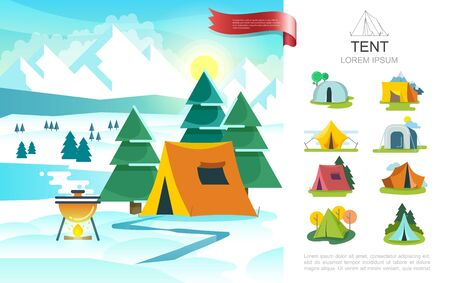 Flat winter camping concept with barbecue grill near tourist tent on trees and mountains landscape vector illustration Vettoriali