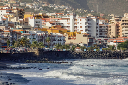 Town andblack sand beach of Candelaria. Eastern part of Tenerife in the Spanish Canary Islands.