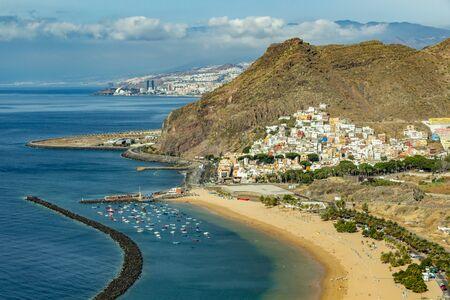 Aerial view on Teresitas beach near Santa Cruz de Tenerife. Canary islands, Spain.