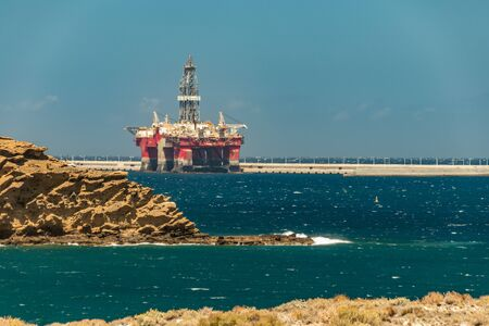 View from the coast of oil offshore rig moored in the port of Granadilla on Tenerife.