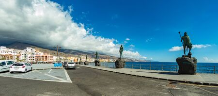 Candelaria, Tenerife, Spain - October 23, 2018: Square near Famous Basilica of Tenerife. Here is the main religious shrine of the aborigines and the current patroness of the Canary Islands. Panorama.