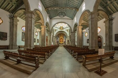 Candelaria, Tenerife, Spain - October 23, 2018: Famous Basilica of Tenerife. Here is the main religious shrine of the island's aborigines and the current patroness of the Canary Islands. Panorama.
