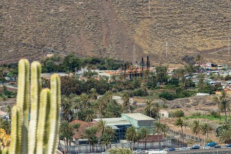 Aerial view of central power station on slope of Volcano in San Sebastian de la Gomera, Canary Islands, Spain