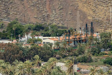 Aerial view of central power station on slope of Volcano in San Sebastian de la Gomera, Canary Islands, Spain. Imagens
