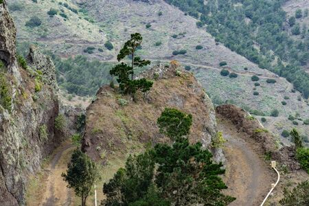 Northeast of La Gomera Island. Narrow winding serpentine of mountain dirt road. Old volcanic mountains covered by green grass, thickets of relic laurels and heather on steep slopes. Canary Islands. Imagens